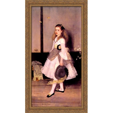 Harmony in Grey and Green: Miss Cicely Alexander 22x40 Large Gold Ornate Wood Framed Canvas Art by James Abbott McNeill