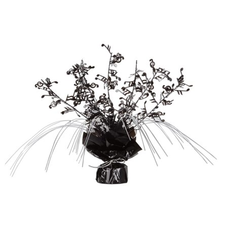 Musical Note Centerpieces (Club Pack of 12 Musical Notes Cascading Foil Black, and Silver Gleam 'N Spray Centerpieces)