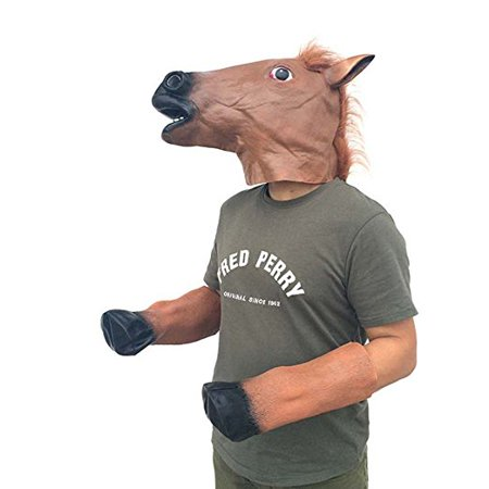 horse mask and horse foot rubber for adult kids halloween animal masquerade party