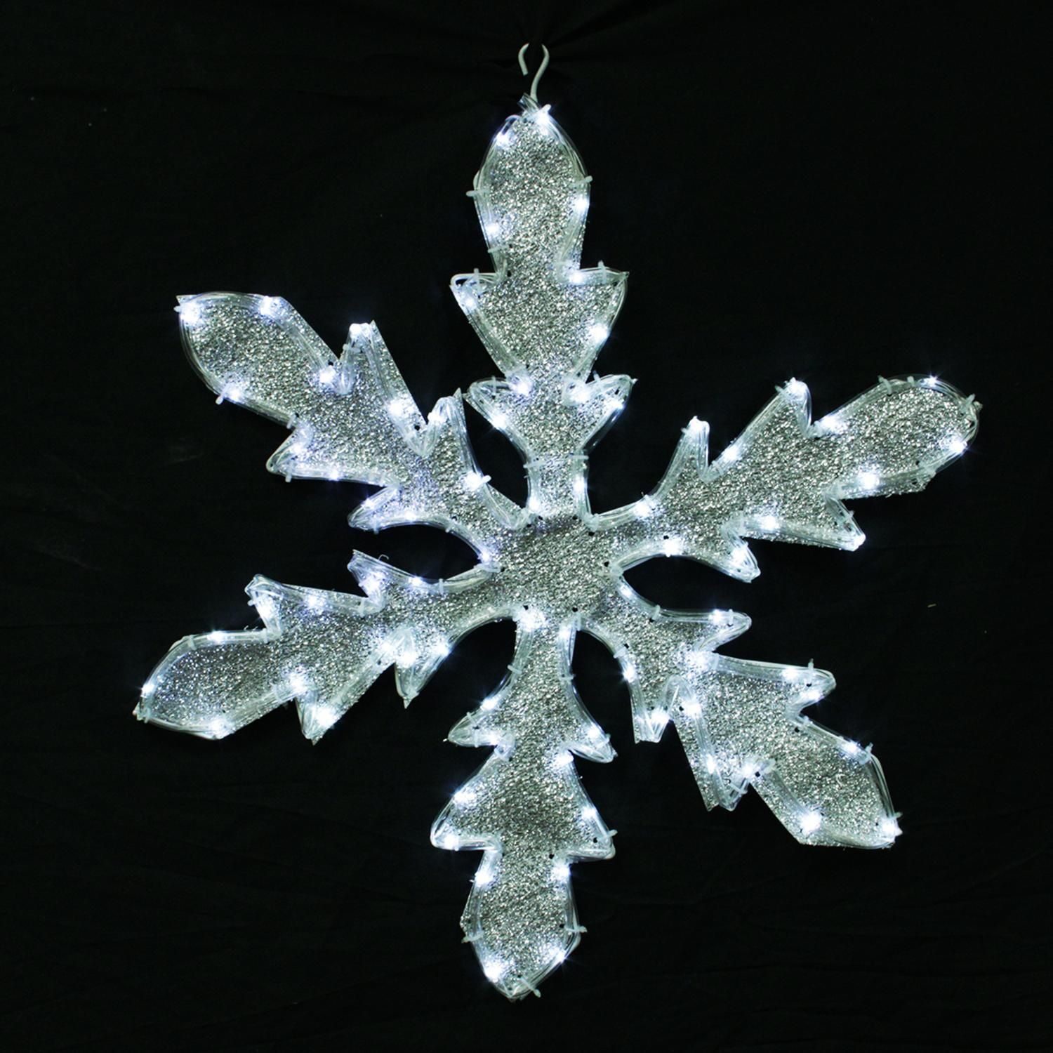 "24"" Pure White LED Lighted Tube Light Silver Tinsel Fabric Snowflake Christmas Decoration"