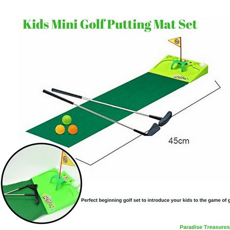 - Kids Golf Set - Putting Mat Indoor and Outdoor Mini Golf for children-2 Metal golf clubs,4xGolf balls,Golf flag and green