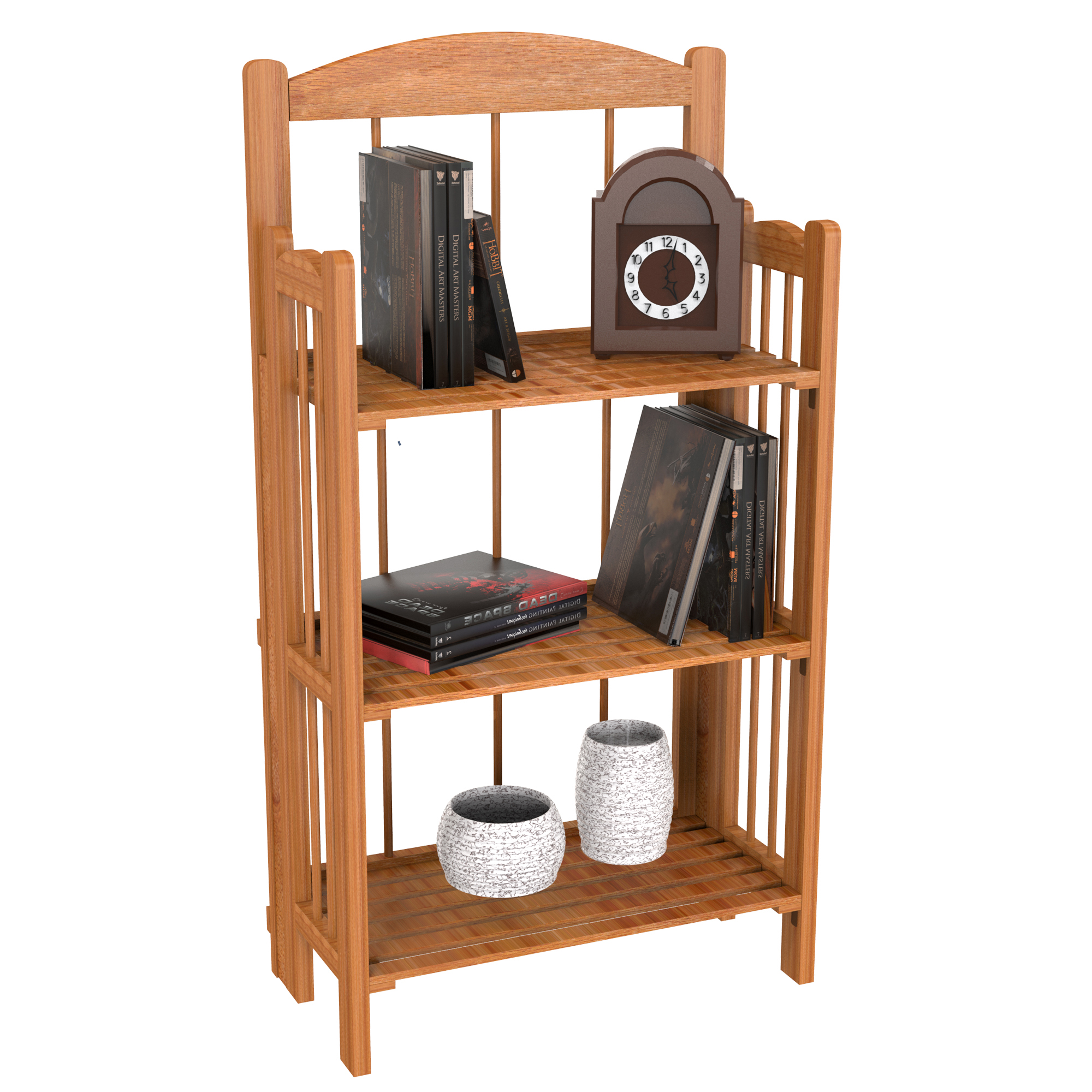 Bookcase for Decoration, Home Shelving, and Organization by Lavish Home- 3 Shelf, Folding Wood Display Rack for Home and Office (Light Brown)