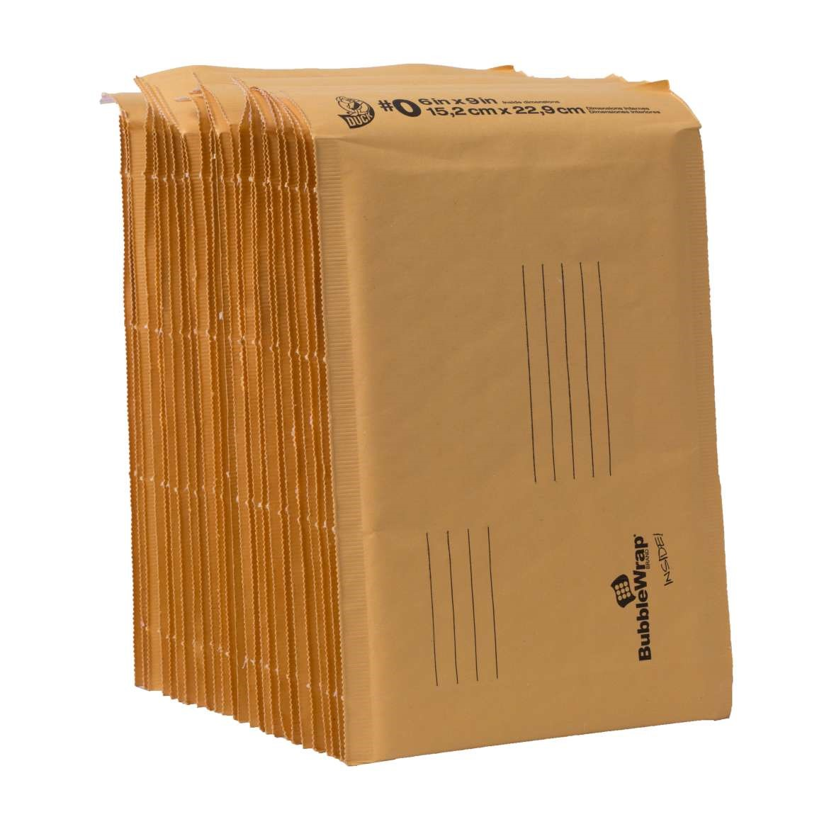 Duck Kraft Bubble Mailers, #0 (6 in. x 9 in.), Self-Sealing, 25-Count