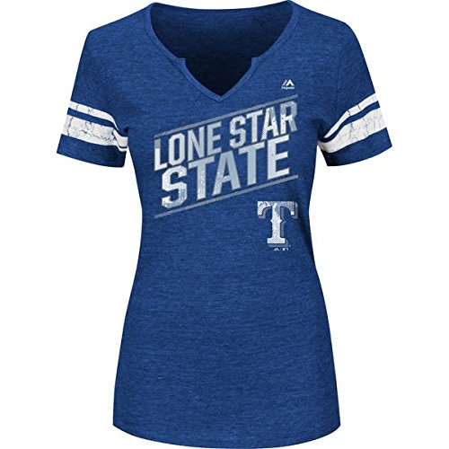 Women's Majestic MLB Plus Success Is Earned Notch V-neck T-shirt (Plus 4X, Texas Rangers)