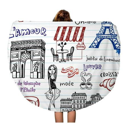 LADDKA 60 inch Round Beach Towel Blanket Arc Paris Doodles Triomphe Bench Bird Bistro Bread Chair Travel Circle Circular Towels Mat Tapestry Beach