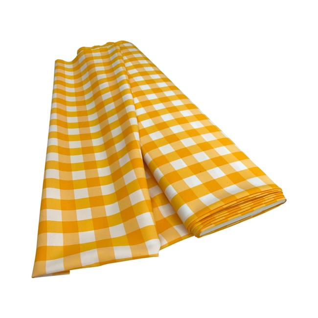 LA Linen CheckBolt-5Yrd-DrkYellowK47 5 Yards Gingham Checkered Flat Fold, White & Dark yellow
