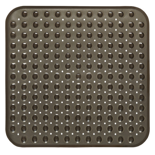 "Stall Size""Bubble"" Look Vinyl Bath Mat in black."