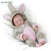 "BadPiggies 11"" Mini Lifelike Reborn Newborn Sleeping Baby Dolls Girl Handmade Silicone Vinyl Toys Xmas Gift"