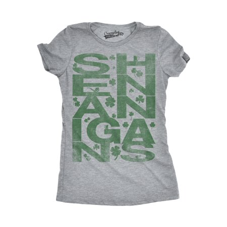 St Patrick's Day Clothes For Women (Womens Shenanigans Covered In Clovers Vintage Irish T)