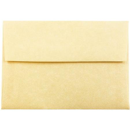 JAM Paper 4bar A1 Invitation Envelopes, 3 5/8 x 5 1/8, Parchment Antique Gold Recycled, (Antique 250 Envelopes)