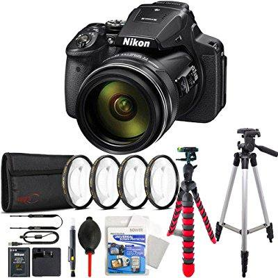 Digital Cameras Gps - nikon coolpix p900 16mp 83x super zoom 4k wi-fi gps digital camera + flexible tripod, tall tripod and more accessories