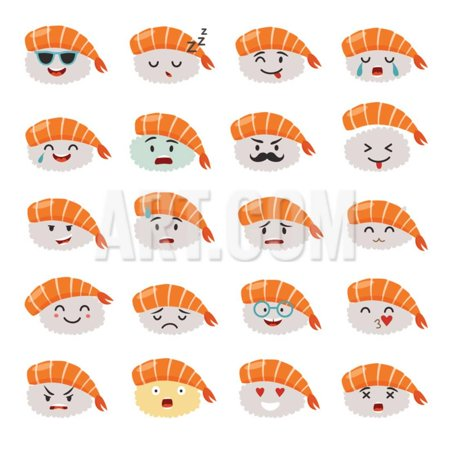 Sashimi Emoji Vector Set. Emoji Sushi with Faces Icons. Sushi Roll Funny Stickers. Food Cartoon Sty Print Wall Art By coffeee_in - Funny Food Face