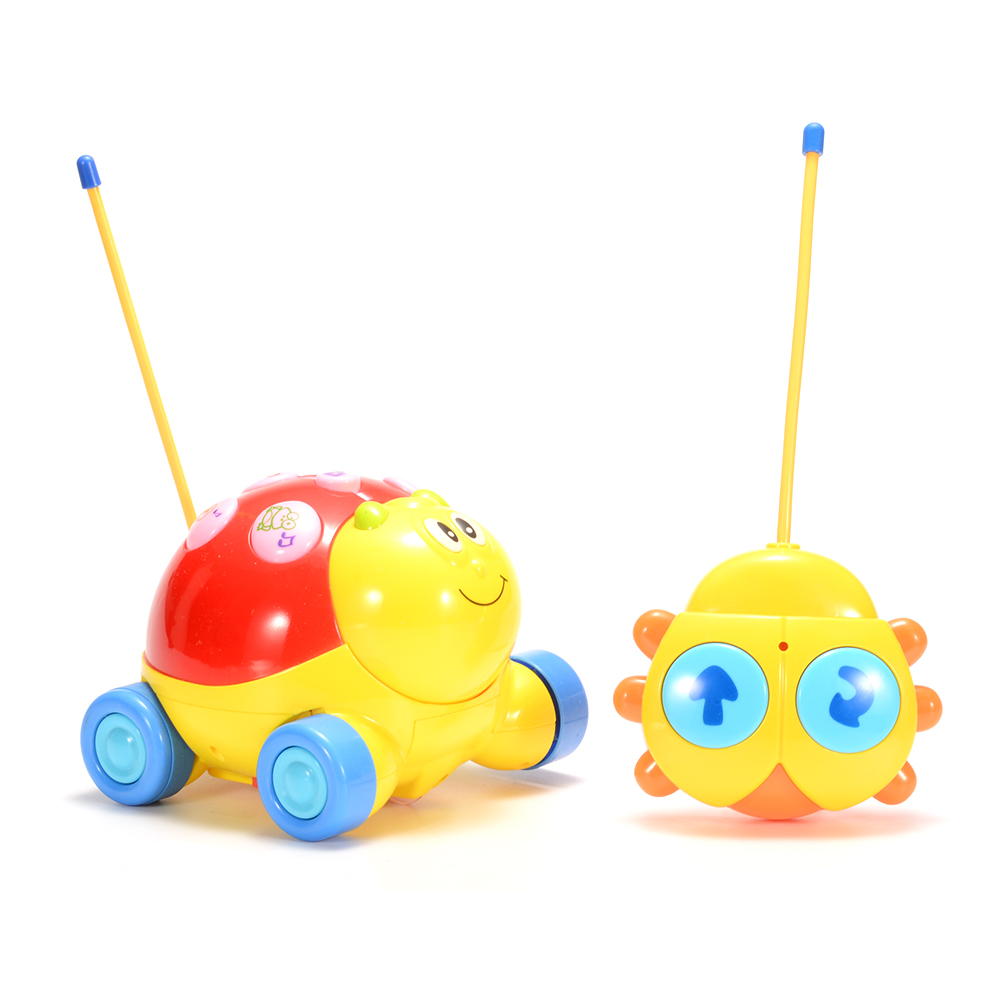Cartoon R/C Ladybug Car 2CH Radio Control Toy for Toddlers with Music and Lights