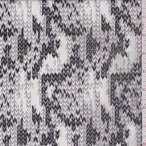 Ivory/Black/Grey Chevron Stretch Sateen, Fabric By the Yard