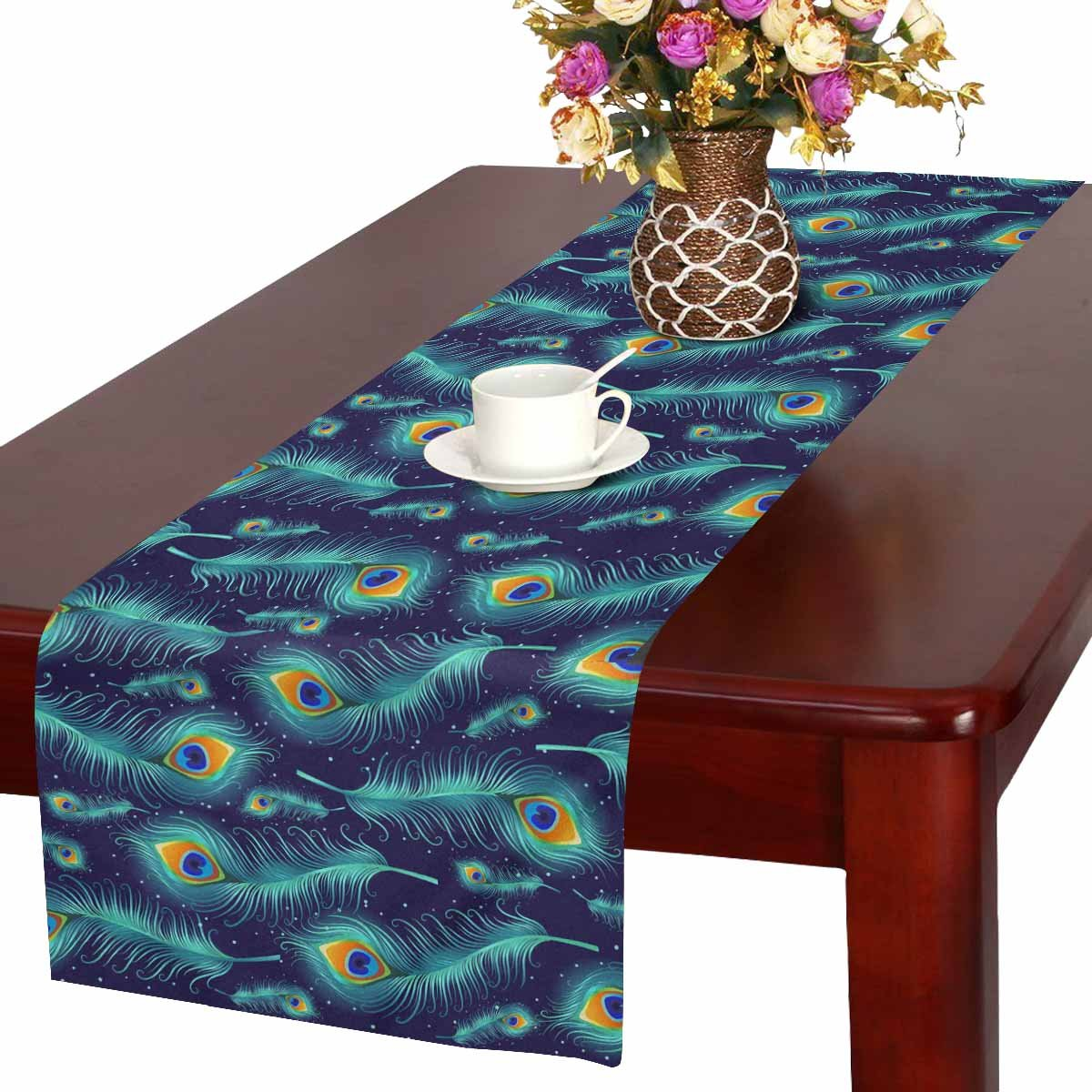 Quilted Table Runner 19.5x47.5 Moonlight Peacock 960