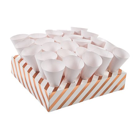 Fun Express - Treat Cones W/ Tray 2 - Copper Foil for Wedding - Party Supplies - Serveware & Barware - Misc Serveware & Barware - Wedding - 52 Pieces