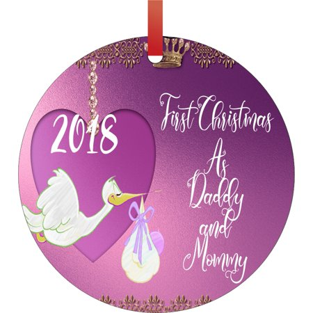 First Christmas as Daddy and Mommy 2018 Round Shaped Flat Semigloss Aluminum Christmas Ornament Tree Decoration - Unique Modern Novelty Tree Décor Favors Father Christmas Tree Ornament