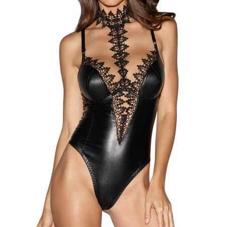 Women's Dreamgirl 10985 Faux-Leather Teddy Bodysuit with Lace