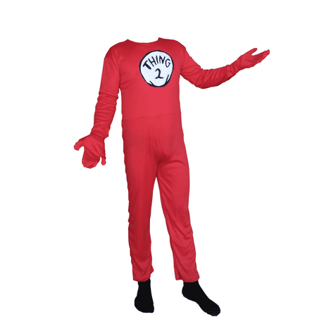 Sequin Cat Suit (Thing 2 Cat In The Hat Adult Costume Body Suit Lycra Spandex Mens)