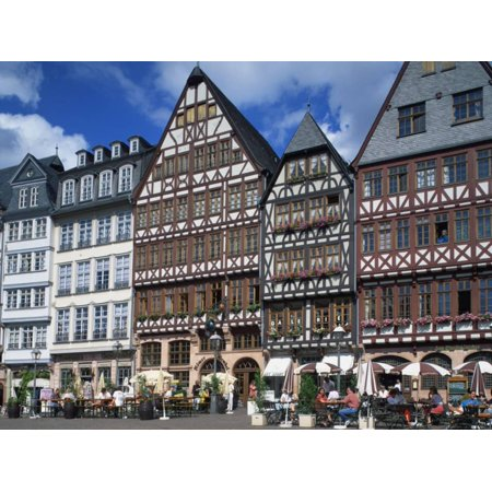 Street Scene with Pavement Cafes, Bars and Timbered Houses in the ...
