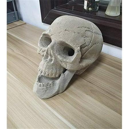 Regal Flame RFA6003 Human Skull Ceramic Wood Large Gas Fireplace Logs - Brown