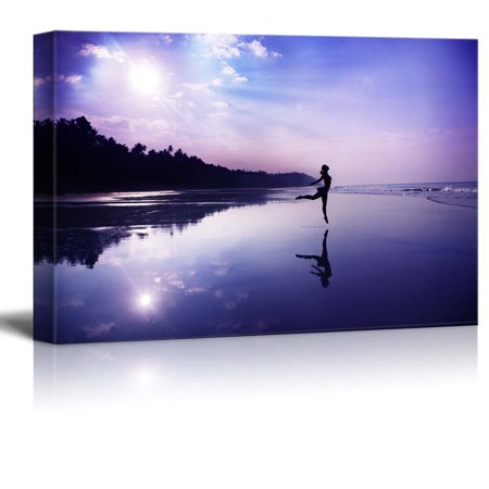 wall26 - Canvas Prints Wall Art - Silhouette of a Beautiful Young Girl Dancing on The Beach at The Sunrise in Purple Colors - 32