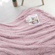 "Luxury Soft Shaggy Faux Fur Blanket Ultra Fiber Blanket Queen 78""x90"" Dark Pink"