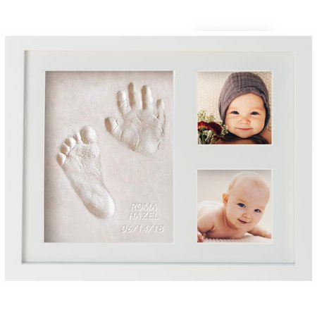 First Impressions Baby Handprint & Footprint Frame Kit by WavHello, Clay Casting & Photo Memory Keepsake Frame, Baby Registry Gift & Baby Shower Gift, Baby Boy Gift & Baby Girl Gift | NO Mold |