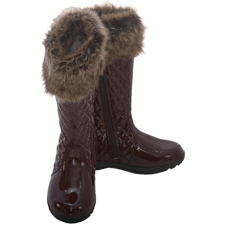 Brown Quilted Patent Faux Fashion Boot Toddler Girl 7-10](Girls Patent Boots)