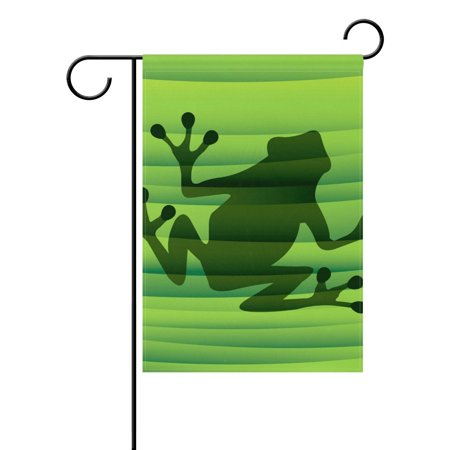 POPCreation Abstract Green Frog Silhouette Garden Flag Banner 12x18 Inches Star Stripe American Patriotic Decorative Flag for Wedding Home Outdoor Garden Decor