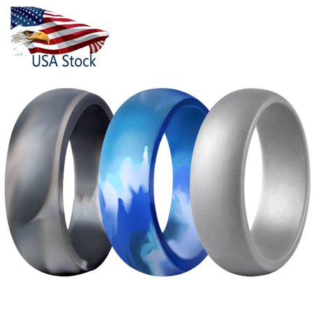 - 3 Pcs Silicone Wedding Ring - Men Cool Gym Fit Rubber Band Flexible Sport Cycling