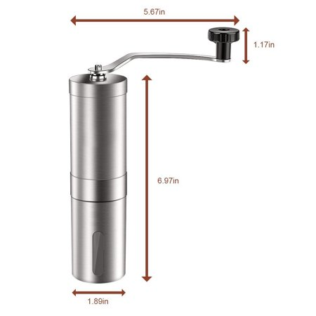 Manual Coffee Grinder, Conical Burr Mill,Portable Stainless Steel Burr Coffee Mill, Adjustable Ceramic Burr Design - image 5 of 8