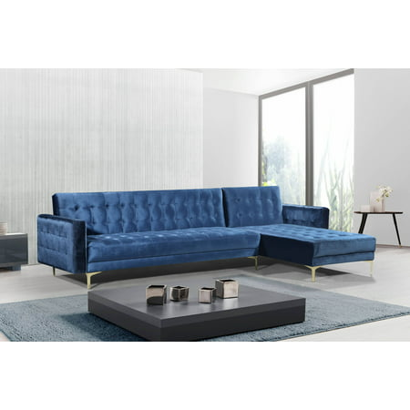Chic Home Kiefer Velvet Right Facing Convertible Sectional ...