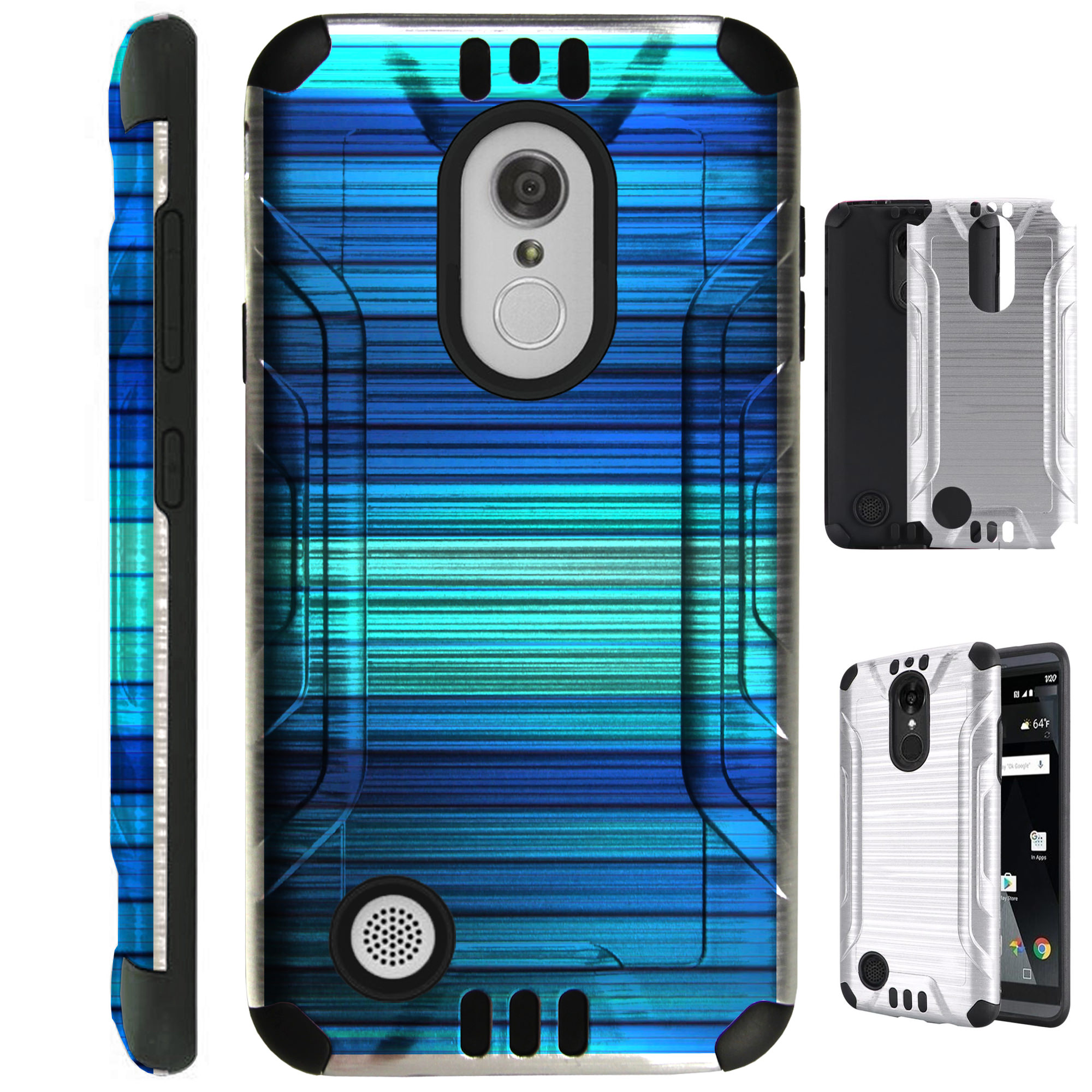 For LG Rebel 4 | Rebel 3 Case Brushed Metal Texture Hybrid TPU Silver Guard Phone Cover (Blue Fence)