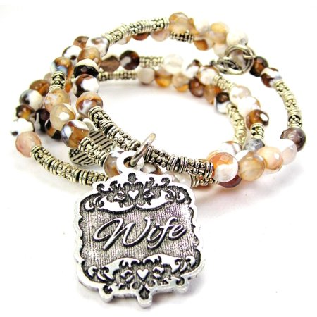 Wife Victorian Scroll Microcrystalline Quartz Wrap Agate Stone Bracelet in (Victorian Agate)