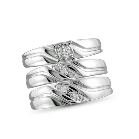1/20 Carat T.W. White Diamond Sterling Silver Trio Engagement Ring Set Your betrothal deserves the very best in fine jewelry, but there's no need to blow your budget! Let your love shine with this brilliant set and enjoy all the sparkle and magic of true love and true value. This pretty bridal-style ring set includes an engagement-style ring, women's wedding-style band and men's wedding-style band adorned with glittering white diamond accents set in sterling silver and beautifully finished with a high polish and satin sheen. Make the most of your special day with unique details, classic styling and a simply unforgettable accent to your perfect moment. A great way to express your love forever.