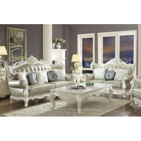 Bone Leather Match Sofa Set 2 Pcs Classic Acme Furniture 53060 Erigeron