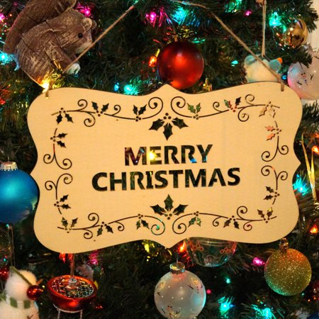 Happy Christmas Wooden Pendant Hollow Decorations Tree Hanging Party - Pennant Decorations