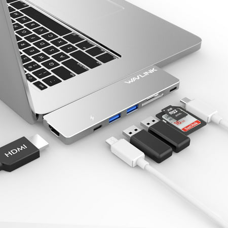 """USB-C Hub Adapter, Multi-port USB-C Mini Dock for 2016/2017 MacBook Pro 13"""" and 15"""", 40Gb/s, 4K HDMI, Pass-Through Charging, SD/Micro SD Card Reader and 2 USB 3.0"""