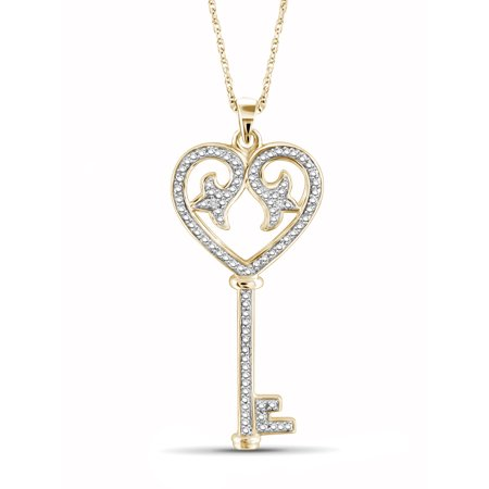 JewelersClub White Diamond Accent Gold over Silver Key and Heart Pendant