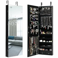 Gymax Wall & Door Mounted Mirrored Jewelry Cabinet Armoire Storage Organizer Black/White