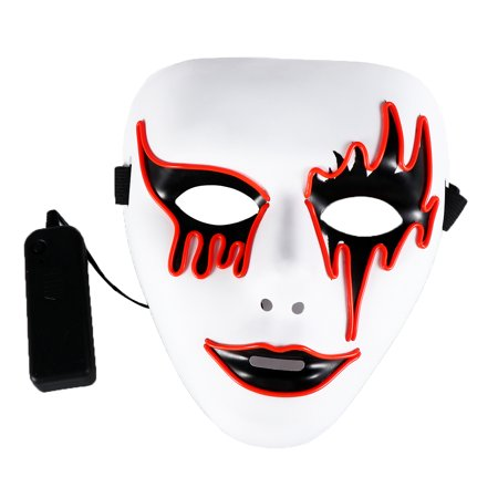 El Wire Glowing Mask Luminous LED Light Up Cool Christmas Halloween DJ Birthday Cosplay Masks for Festival Party Show (Red)