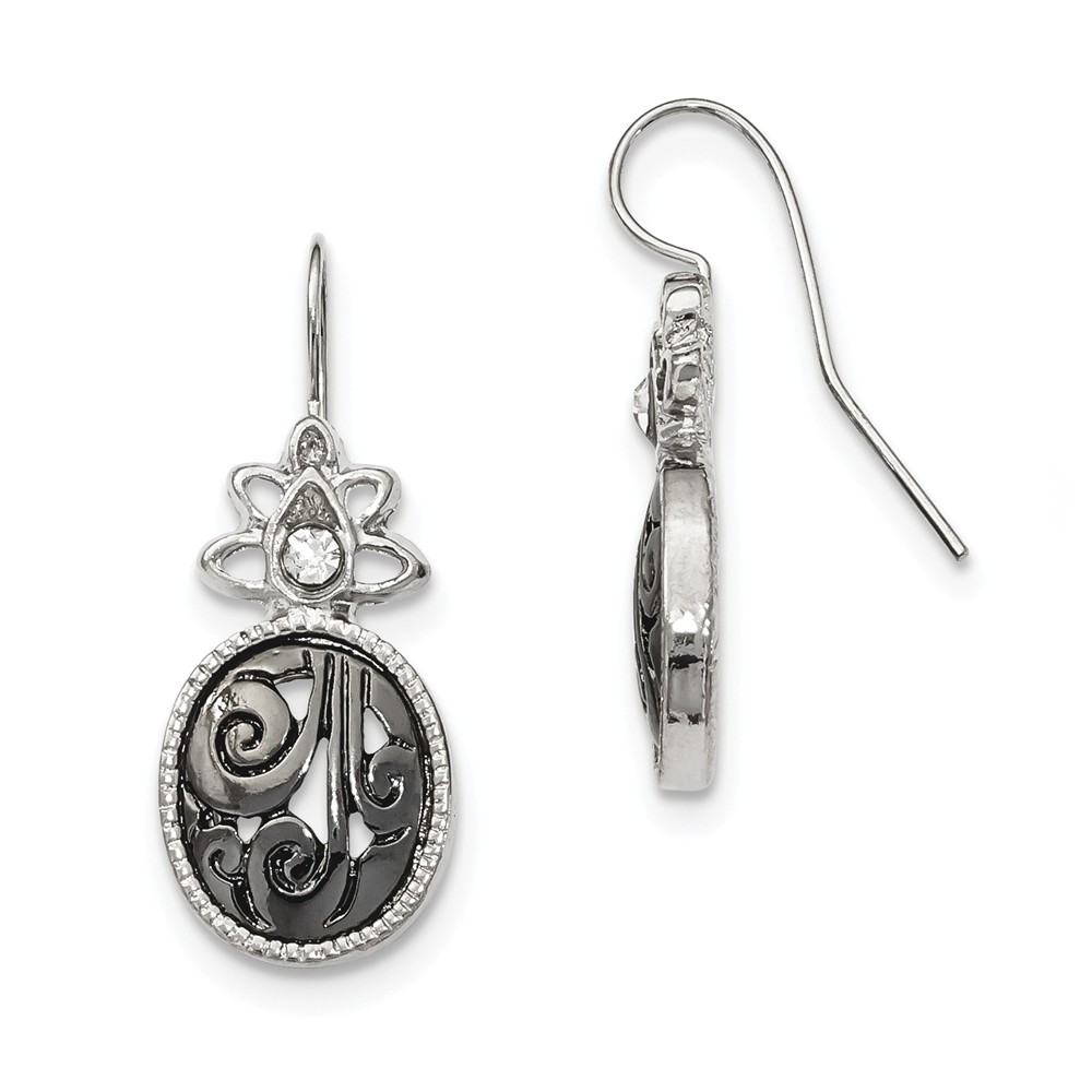 Silver-tone Jet Black Crystal Oval Dangle Earrings