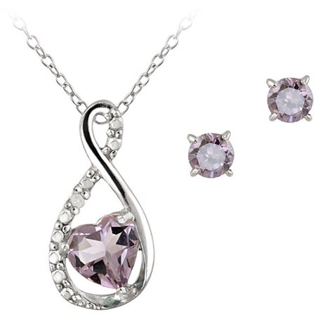 0.9 Carat T.G.W. Amethyst and Diamond Accent Sterling Silver Infinity Pendant and Earring Set, -