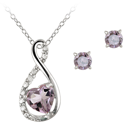 0.9 Carat T.G.W. Amethyst and Diamond Accent Sterling Silver Infinity Pendant and Earring Set, 18""