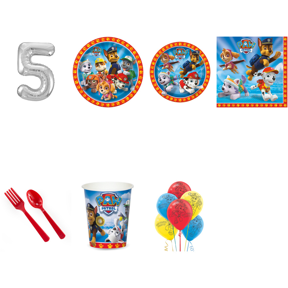 PAW PATROL PARTY SUPPLIES PARTY PACK FOR 32 WITH SILVER #5 BALLOON