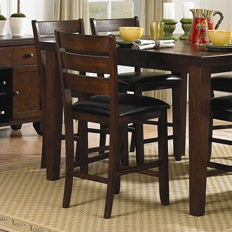 Trent Home Ameillia Counter Height Dining Chair in Dark Oak (Set of 2)