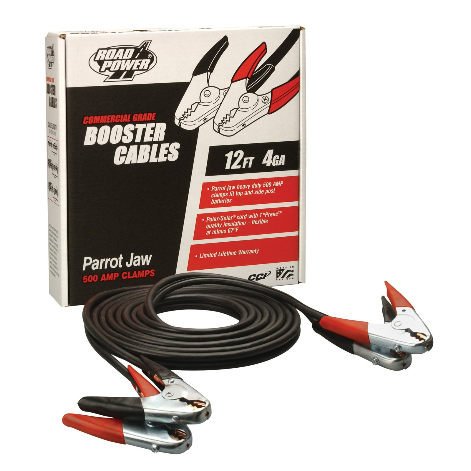 Coleman Cable 08765 12' Heavy-Duty Truck and Auto Battery Booster Cables with Parrot Jaw Clamps, 4-Gauge