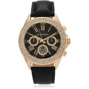 Journee Collection Women's Rhinestone Roman Numeral Leather Strap Fashion Watch, Black/Gold