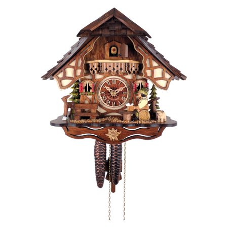Cuckoo Clock 1 Day Chalet - River City Clocks Chalet Style One Day Cuckoo Clock with Beer Drinker